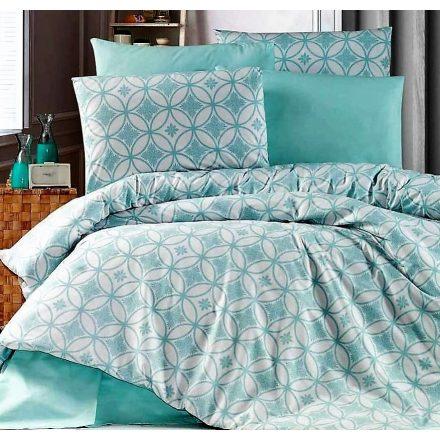 Világos kék mintás , 100% pamut ágynemű huzat