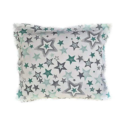 Menta zöld csillagok-egyszínű szürke alvó párna