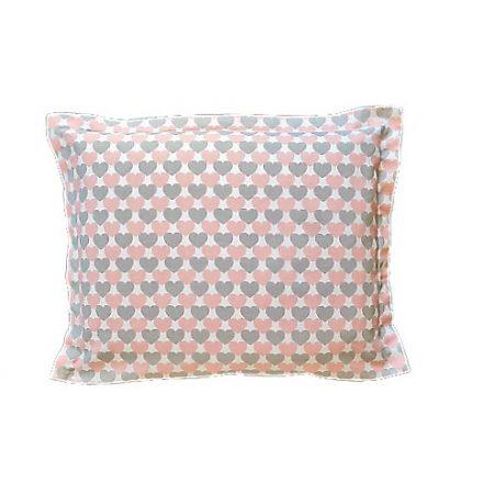 Rózsaszín- szürke szívecskés alvó párna