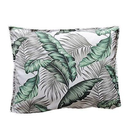 Zöld leveles - egyszínű szürke téglalap alakú alvó párna