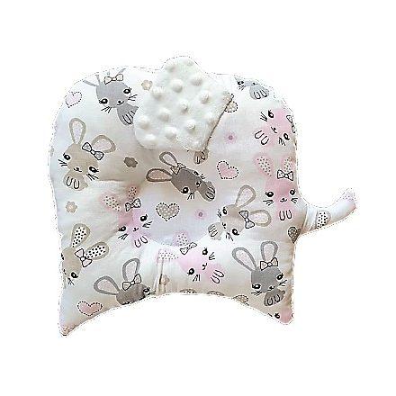 Rózsaszín kis nyuszis-fehér színű,kutacs baba párna