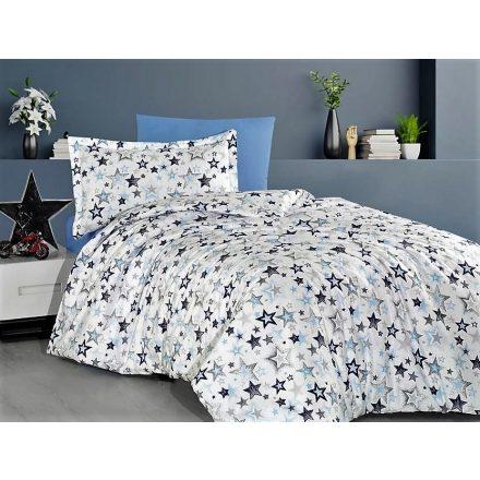 Kék csillagos, 100% pamut ágynemű huzat