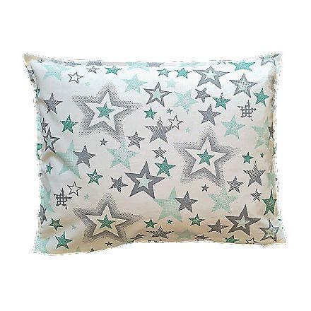 Menta-szürke csillagok, téglalap alakú alvó párna.