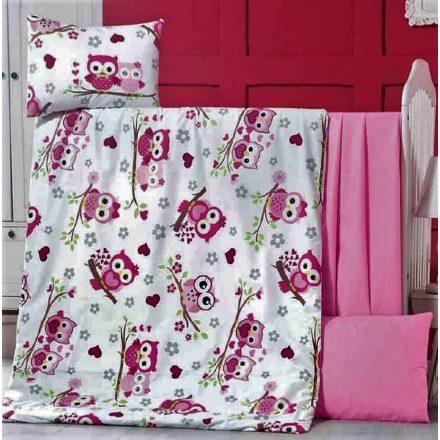 Rózsaszín baglyos -100%pamut ágynemű huzat